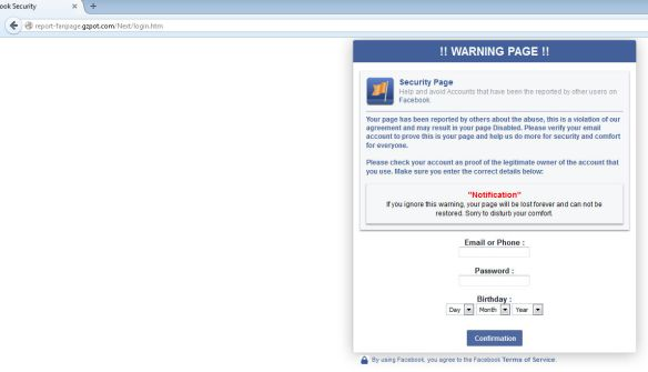 FaceBook Phishing Scam Page