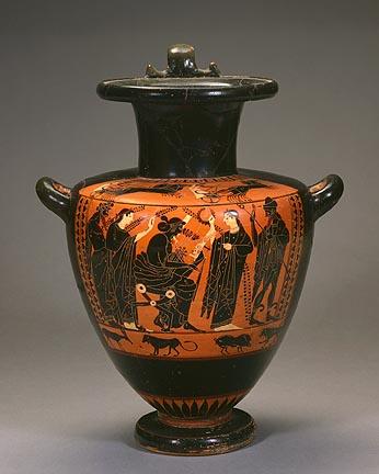 Circle of Antimenes Painter (Greek, Attic, active ca. 530–ca. 510 BC). Hydria (Water Jar), ca. 525 BC. Black-figure terracotta. Gift of Mr. and Mrs. Everett N. Carpenter to the Milwaukee Art Museum. Photo credit Larry Sanders