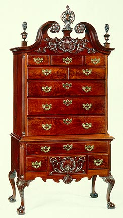 Philadelphia, High Chest of Drawers, 1760-75. Walnut, yellow poplar, white cedar, brass hardware (replaced),94 1/2 x 46 3/4 x 23 3/4 in.  Milwaukee Art Museum, Purchase, Virginia Booth Vogel Acquisition Fund M1984.120. Photo by John Nienhuis.