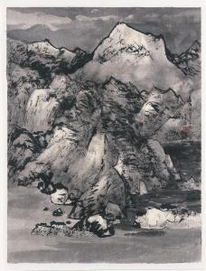 Wang Jiqian (CC Wang) (Suzhou, China, 1907–2003). Shanshui, 1990. Ink on paper. Chu-tsing Li and Family Collection. Photographed by Ken Howie.