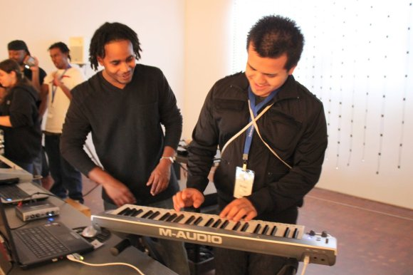Marquis (left) and Israel at the keyboards. Photo by the author