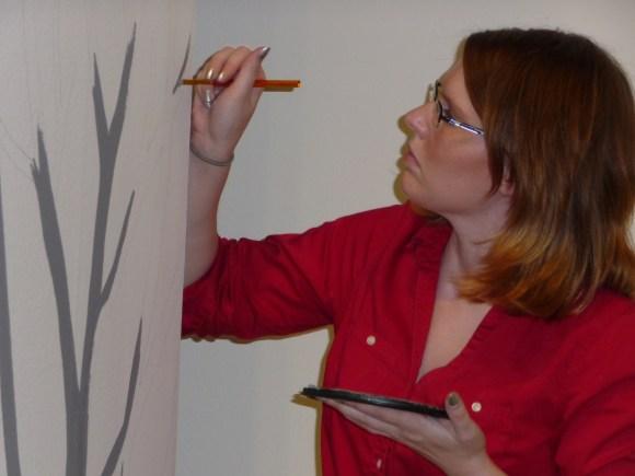 Closeup of Erin painting