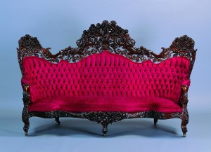 Attributed to John Henry Belter (American, b. Germany, 1804–1863), Sofa, ca. 1850. Rosewood, rosewood laminate, modern velvet upholstery, 54 x 93 1/2 x 40 in. Milwaukee Art Museum, Bequest of Mary Jane Rayniak in memory of Mr. and Mrs. Joseph G. Rayniak M1987.16. Photo credit Larry Sanders.