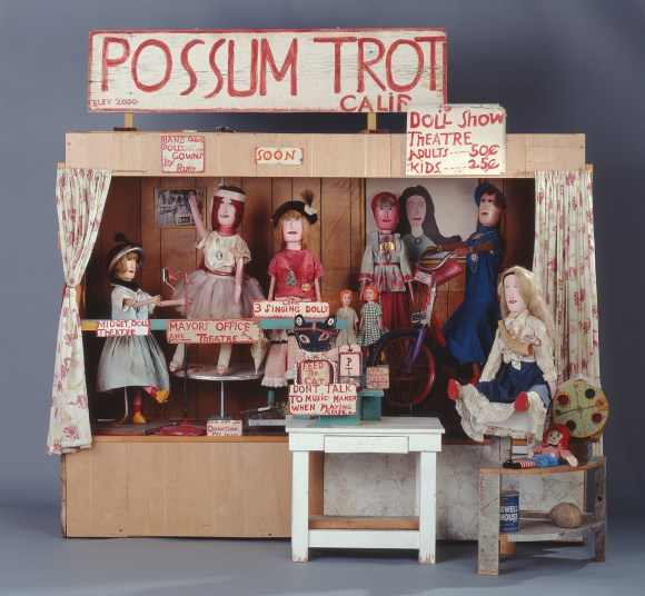 Calvin Black (American, 1903-1972) and Ruby Black (American, 1913-1980). Possum Trot Midget Doll Theatre.  ca. 1950-1972.  Wood, wood paneling, laminated Masonite, nails, bolts, paint, electrical components, and carved and painted wooden dolls.  The Michael and Julie Hall Collection of American Folk Art M1989.325.