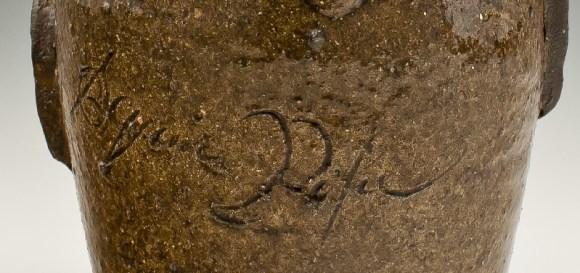 Inscription detail. Face jug, ca. 1862. alkaline glazed stoneware with kaolin insert. Chipstone Foundation. Photo courtesy of Rob Hunter.