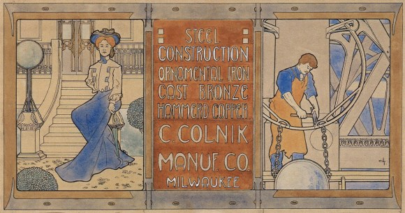 George Mann Niedecken (American, 1878–1945), Design for Three Panel Sign for Colnik Manufacturing Co., n.d. Ink and watercolor on paper, sheet: 12 x 22 in. Milwaukee Art Museum, Gift of Mr. & Mrs. Robert L. Jacobson, PA2007.359.1.