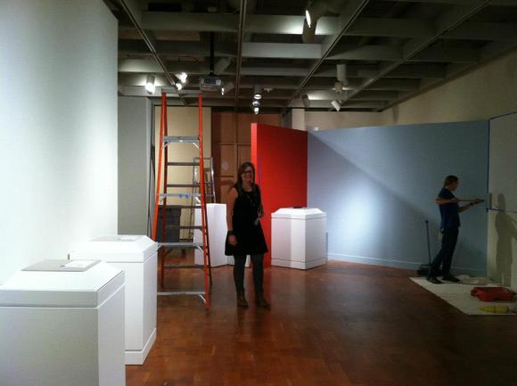 "Mid-installation of ""Grete Marks: When Modern was Degenerate"". Photo by Kristin Settle."