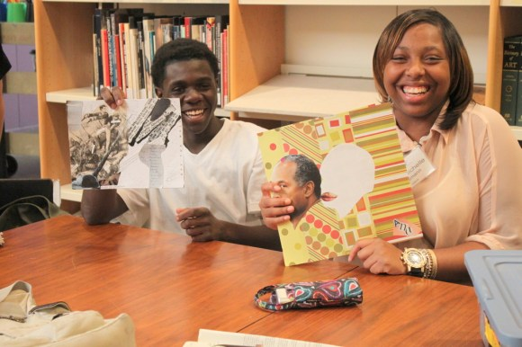 Dre'Shawn and Ana'Nichelle with their pieces. Photo by Chelsea Kelly