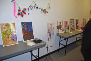 Lineup of contest entries in the hallway. Photo by Donele Pettit