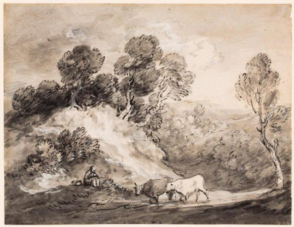 Thomas Gainsborough (English, 1727–1788), Landscape with Cattle, 1780s. Pen and ink with wash and white heightening, on paper; 11 1/16 x 14 3/8 in. (28.1 x 36.51 cm). Milwaukee Art Museum, Gift of the family, in memory of Isabelle Miller (George M. Chester, William M. Chester, Jr., John Chapman Chester and Marion C. Read) M1985.79  Photo credit John R. Glembin