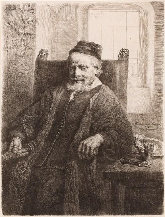 Rembrandt van Rijn (Dutch, 1606–1669), Jan Lutma, Goldsmith, 1656. Etching, drypoint, and engraving plate: 7 5/8 x 5 15/16 in. (19.37 x 15.08 cm) sheet: 7 3/4 x 5 15/16 in. (19.69 x 15.08 cm). Milwaukee Art Museum, Gertrude Nunnemacher Schuchardt Collection, presented by William H. Schuchardt M1924.160 Photo credit John R. Glembin
