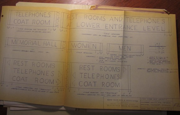 4)Author's snapshot of Saarinen designs for signage, Milwaukee Co. War Memorial Building. Taken in Eero Saarinen collection, Manuscripts & Archives, Yale University.