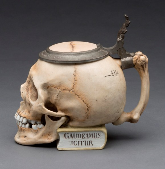 "Ernst Bohne Söhne, Rudolstadt (Thuringia, Germany, 1854–ca. 1920). ""Skull"" Stein, ca. 1900. Glazed hard paste porcelain, colored underglaze decoration, and pewter. Milwaukee Art Museum, Gift of the René von Schleinitz Foundation M1962.948. Photo by John R. Glembin."