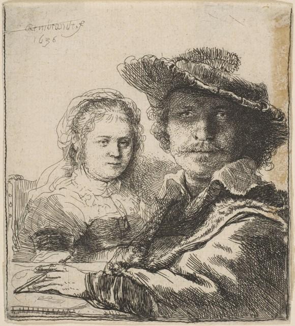 Rembrandt van Rijn (Dutch, 1606–1669), Self-Portrait with Saskia, 1636. Etching. The Metropolitan Museum of Art, Gift of Henry Walters, 1917, 17.37.71.