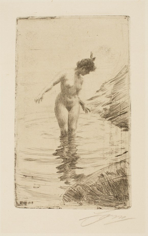 Anders Leonard Zorn (Swedish, 1860–1920), Cercles d'eau II (Ripples in the Water), 1907. Etching, possibly with roulette, and drypoint. Milwaukee Art Museum, Gertrude Nunnemacher Schuchardt Collection, presented by William H. Schuchardt M1924.133. Photo credit: John R. Glembin