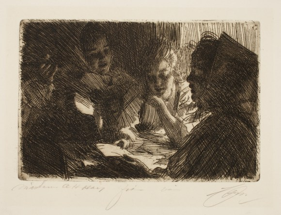 Anders Leonard Zorn (Swedish, 1860–1920), The New Ballad, 1903. Etching. Milwaukee Art Museum, Gertrude Nunnemacher Schuchardt Collection, presented by William H. Schuchardt M1924.139. Photo credit: John R. Glembin.