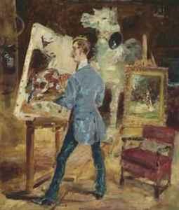 Henri de Toulouse-Lautrec (French, 1864–1901), Princeteau in His Studio (Princeteau dans son atelier), 1881. Oil on canvas. Sold at Christie's, New York, May 15, 2015.