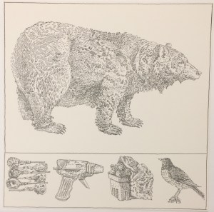 Don Nice (American, b. 1932), Bear with Predella, from the Rubber Stamp Portfolio, 1976, published 1977. Rubber stamp print. Image and sheet: 8 × 8 in. (20.32 × 20.32 cm). Gift of J. Thomas Maher III M1994.263.10.