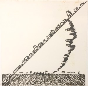 Joe Zucker (American, b. 1941), The Relocation of Property by Natural Forces, from the Rubber Stamp Portfolio, 1976, published 1977. Rubber stamp print. Image and sheet: 8 × 8 in. (20.32 × 20.32 cm). Gift of Virginia M. and J. Thomas Maher III M1994.263.13. © Joe Zucker, Courtesy of Mary Boone Gallery.
