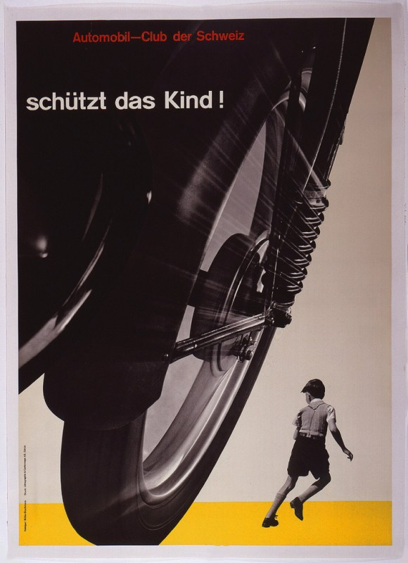 Josef Müller-Brockmann (Swiss, 1914–1996), SCHÜTZT DAS KIND! [PROTECT THE CHILD!], 1953. Lithograph. 50 3/16 x 35 5/8 in. (127.5 x 90.5 cm). Cooper Hewitt, Smithsonian Design Museum, Museum purchase from General Acquisitions Endowment Fund 1999-46-1.