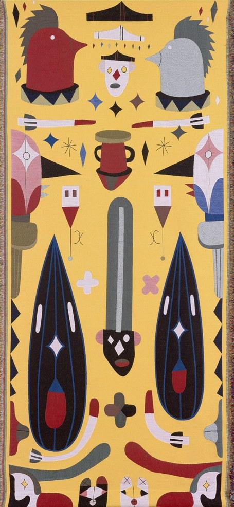 Jaime Hayon (Spanish, born 1974), designer, Tilburg Textile Museum TextielLab (Dutch, established 2004), fabricator, Technicolor, Yellow, 2016–2017, merino wool, lurex, viscose, polyester, mohair, acrylic, cotton, 145 × 67 inches. High Museum of Art, Atlanta, gift of the Robert S. Griffith Jr. family, 2016.206.6.