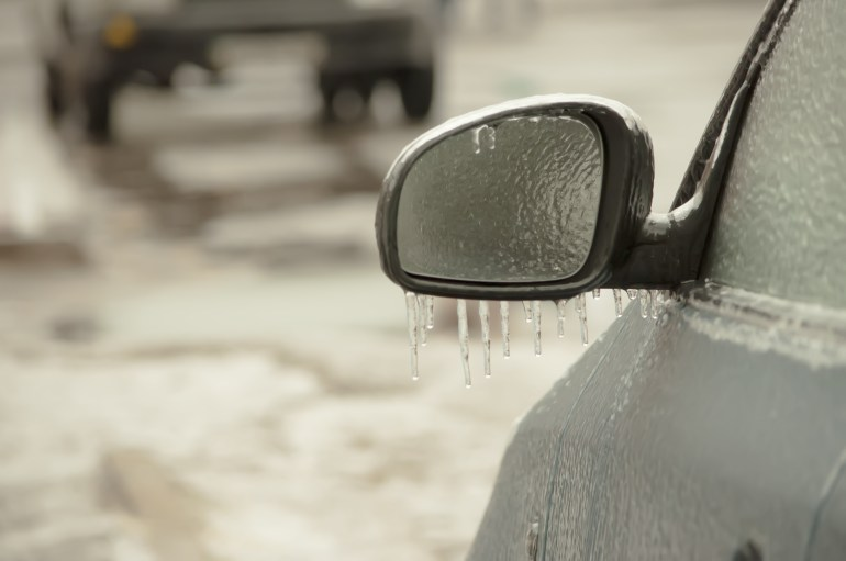 Frozen side mirror winter car hacks