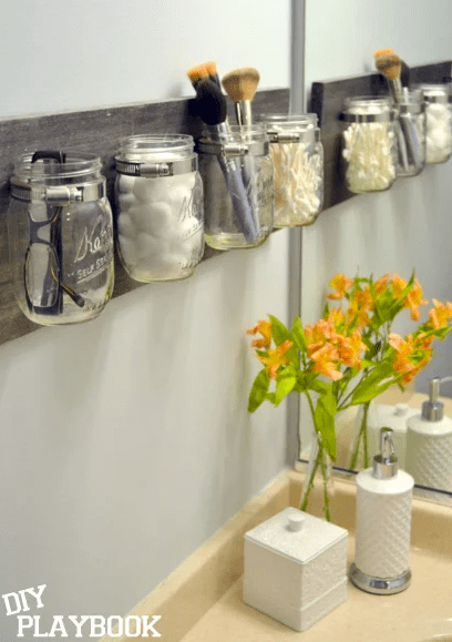 bathroom organisation tricks mason jars Handy Mano ManoMano Mano Mano Handymano