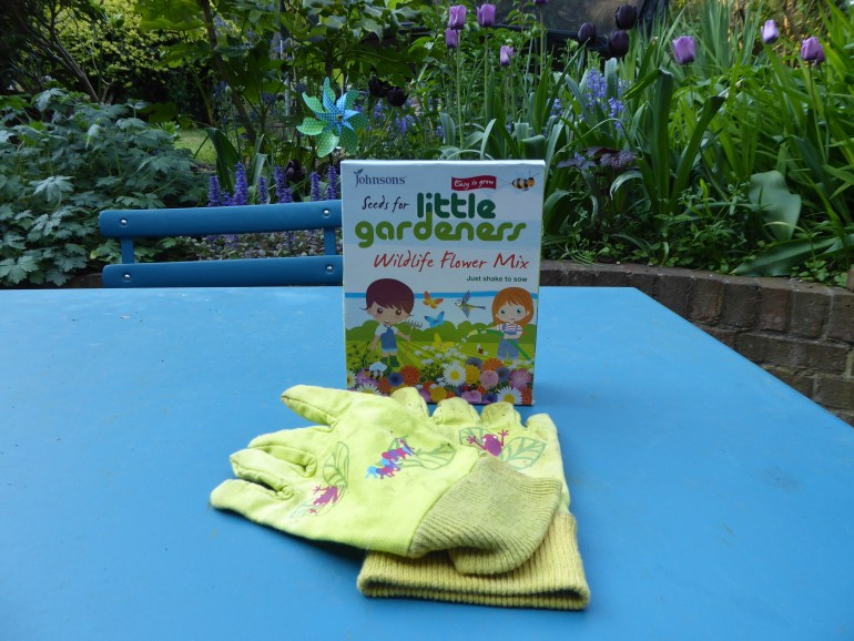 Child Friendly Garden activities kids fun the handy mano manomano carrotsandcalendular wildflower seeds gloves packet