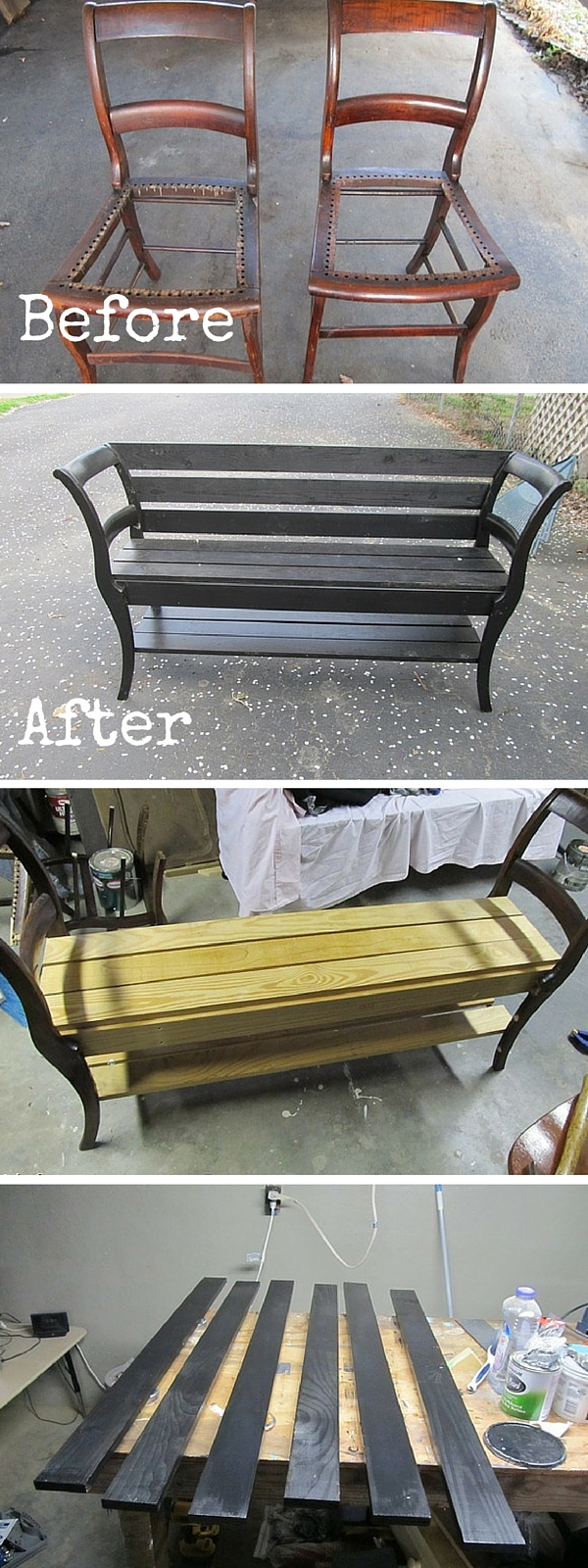 upcycled furniture upcycling reuse DIY The handy mano manomano chair bench
