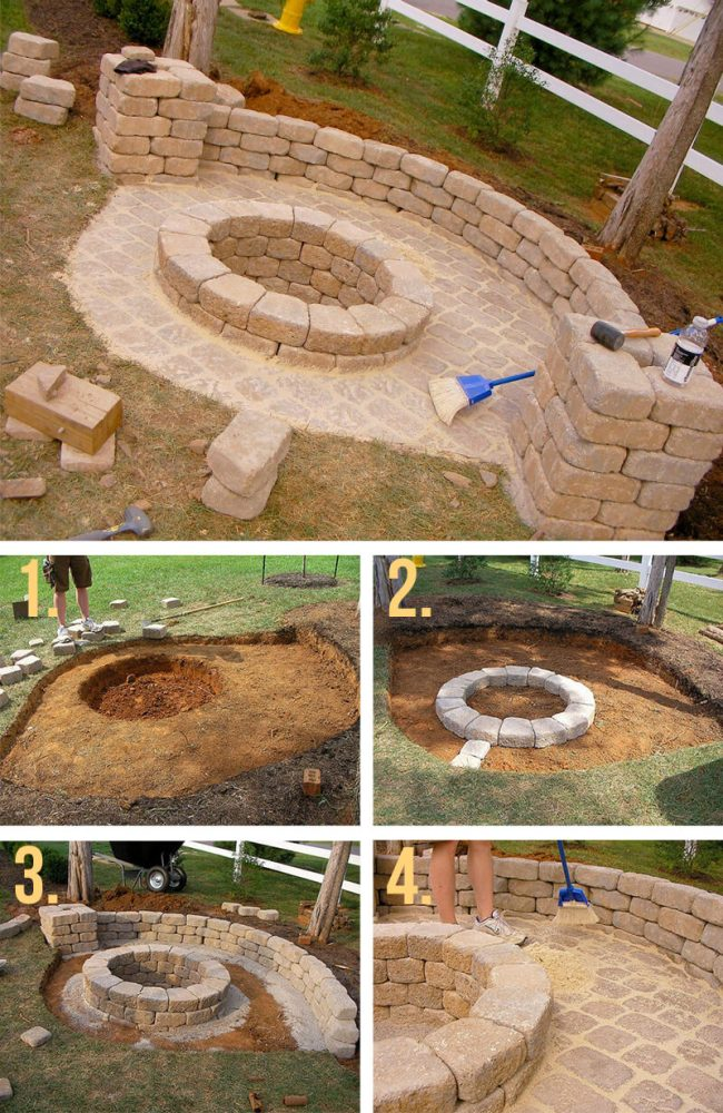 outdoor  DIY fire pit ideas designs how to build the handy mano manomano recessed blocks
