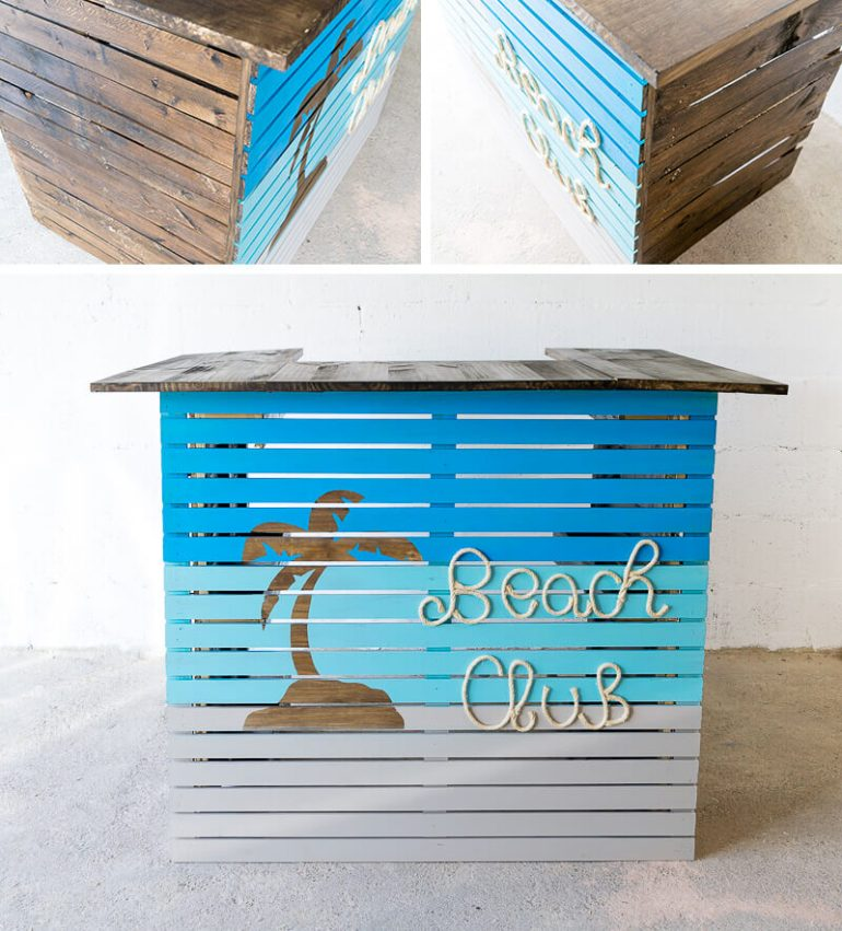 manomano mano mano the handy mano pallet bar wood pallet projects diy do it yourself completed project painted palm tree beach club