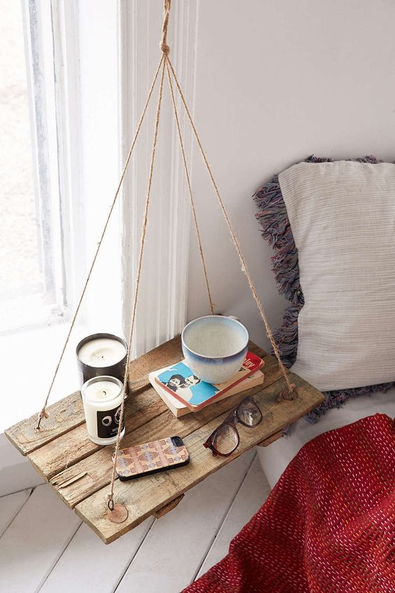 DIY Side Table bedside hanging wood diy do it youseld manomano mano mano thehandymano mug candle bed