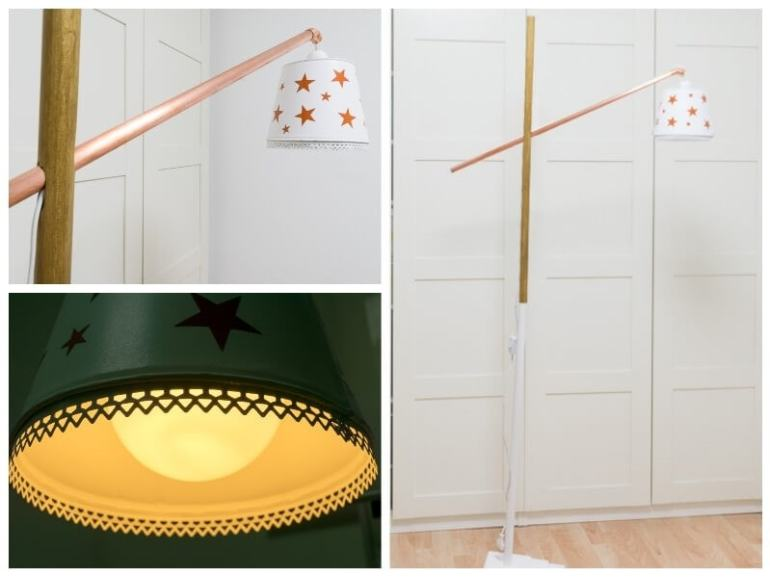 diy floor lamp lighting the handy mano manomano mano do it yourself project design interior lamp base shade copper gold stars