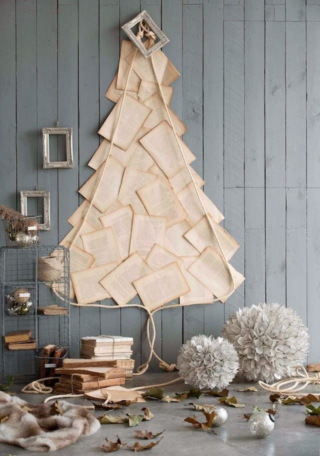 Alternative christmas trees alternative different tree the handy mano manomano mano diy do it yourself festive christmas books on the wall outline shape