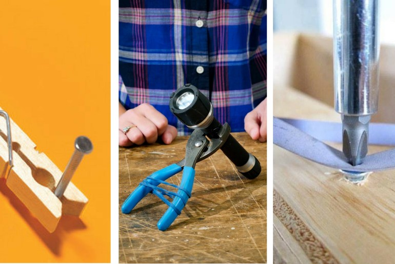 8 Simple and Ingenious Tool Hacks thehandymano the handy mano manomano mano mano screw diy do it yourself home improvement easier simpler nail clothespin