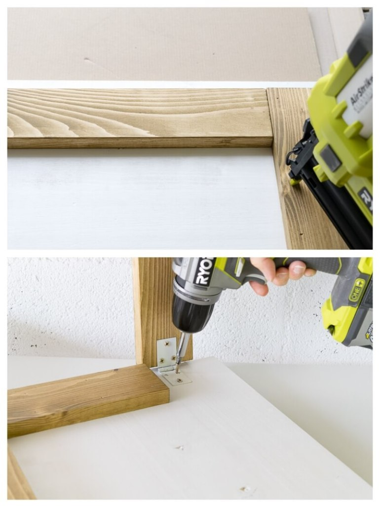 DIY Framed Picture Folding Desk Furniture for Small Spaces design a workspace diy do it yourself the handy mano thehandymano mano mano manomano screwing in hinges