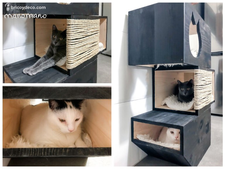 DIY Cat Bed with Scratching Post three story play area manomano mano the handy mano