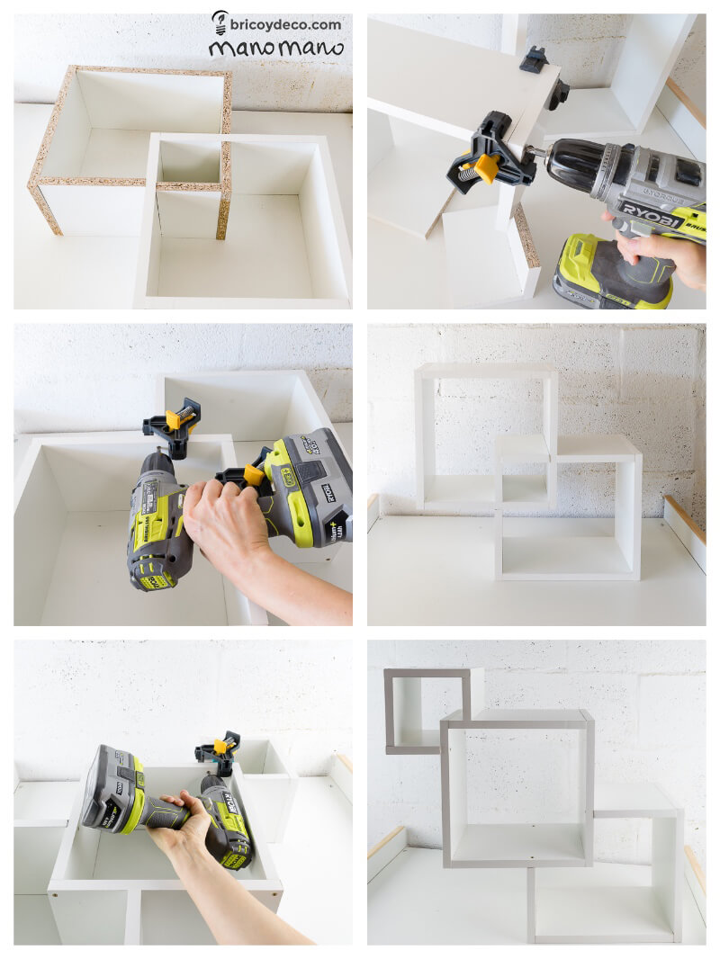 How To Make Intertwining Box Shelves thehandymano handy mano manomano crossover patterned tools materials construction drill