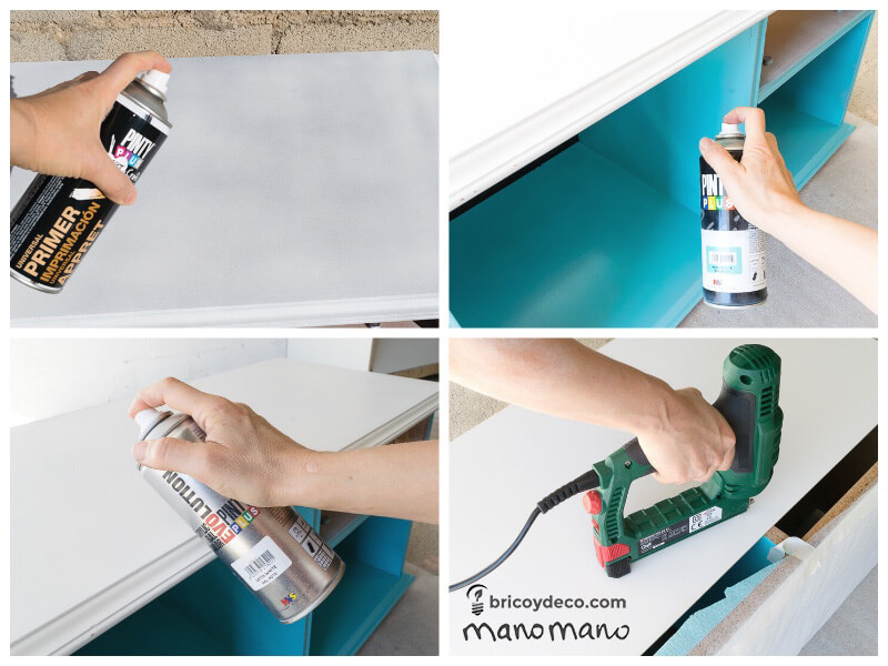 diy play kitchen kids playroom upcycle do it youself handy mano manomano spray paint