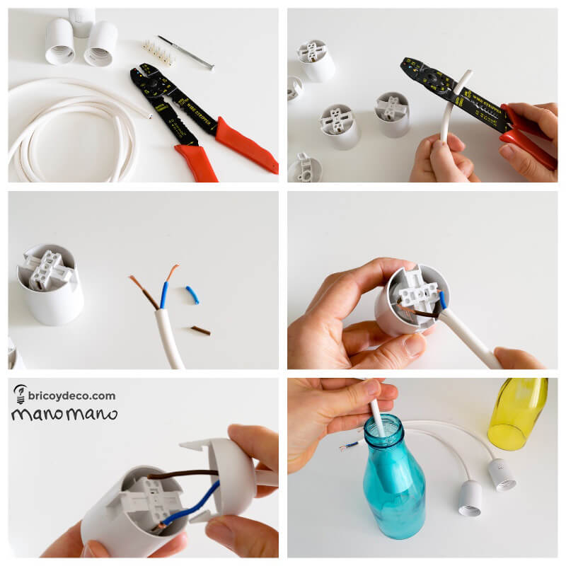 Glass Bottle DIY Upcycled Ceiling Light craft recycling cutting cut bottles do it yourself diy manomano mano the handy wire stripping
