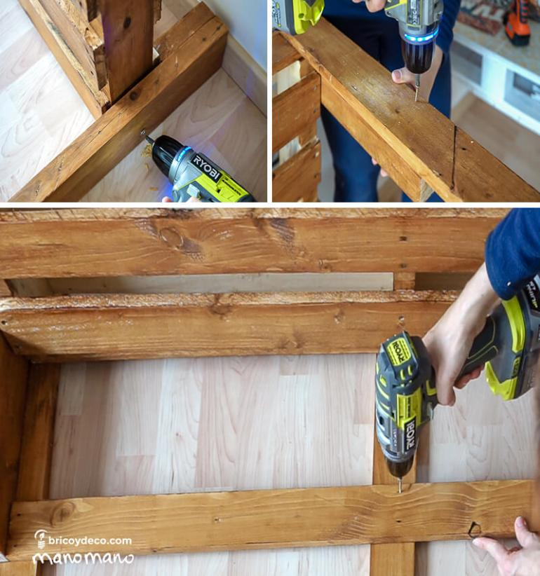 thehandymano mano DIY pallet sofa tutorial assemble back rest