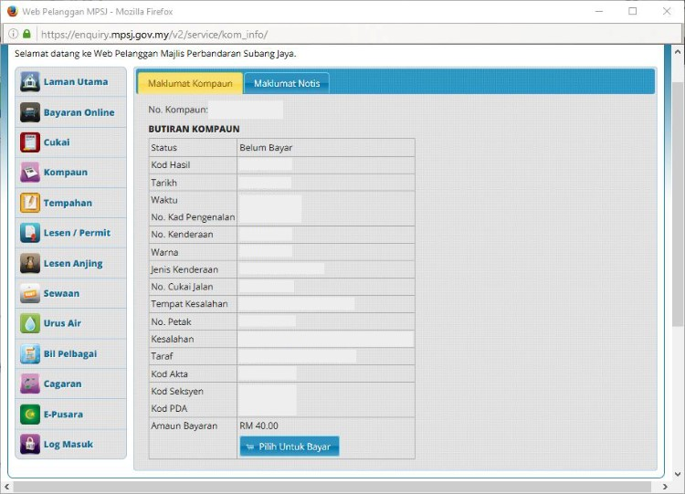 Check & Pay MPSJ Summon – Semakan & Bayar MPSJ Saman - Step 3