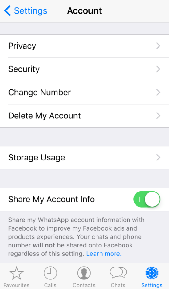Remove Whatsapp privacy sharing to Facebook in 2 steps
