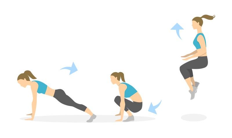 indoor exercises - burpees