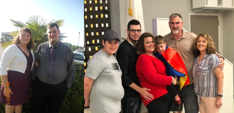 Michael A. Moore a before his weight loss journey and family