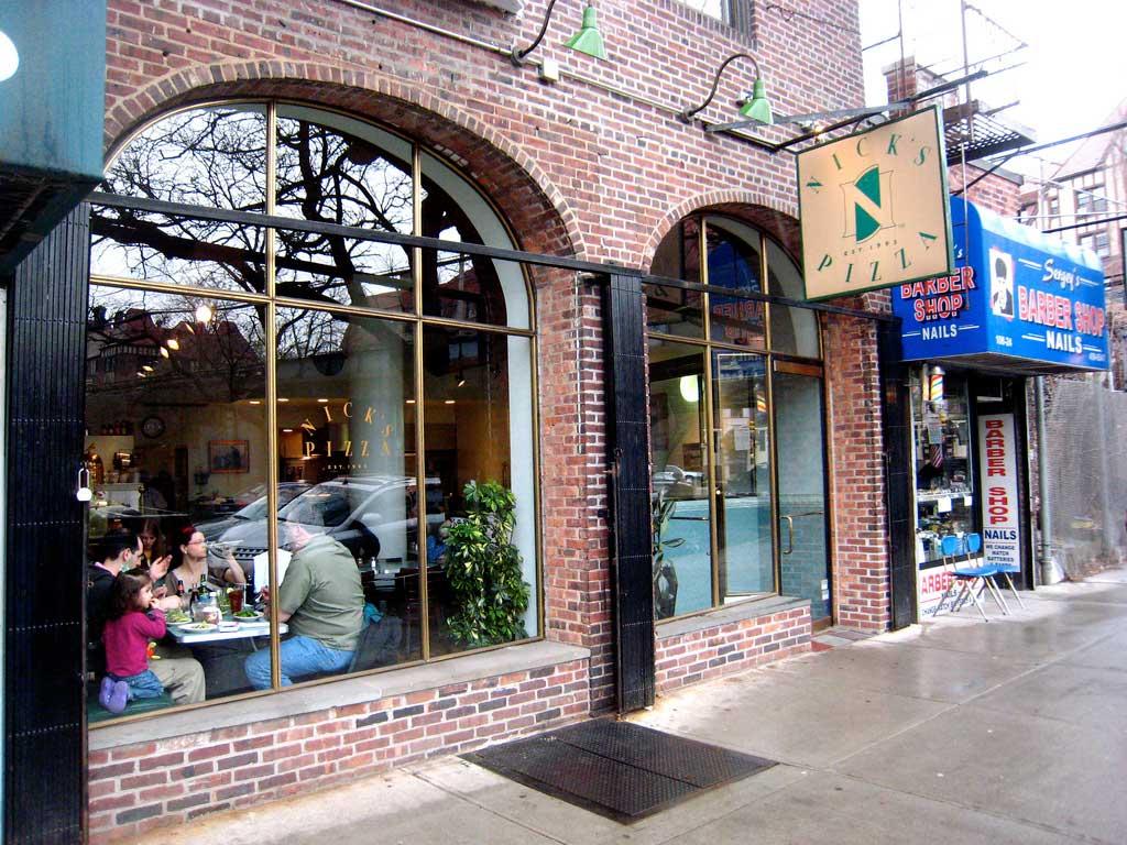 Nicks' Pizza exterior, Forest Hills, Queens