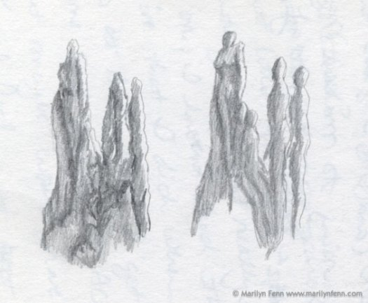 Sketch of anthropomorphized landscape form pencil Left: sketch of termite mound; right: anthropomorphized forms © 1991 Marilyn Fenn
