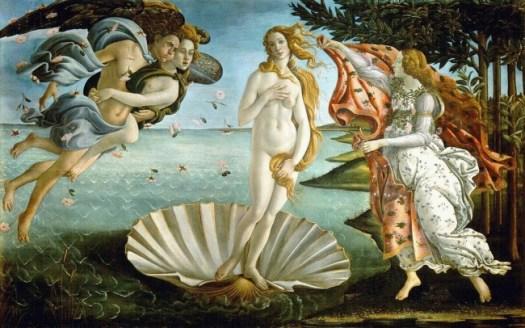 The Birth of Venus Sandro Botticelli, c. 1482–1486 tempera on canvas 172.5 cm × 278.5 cm (67.9 in × 109.6 in) Uffizi, Florence