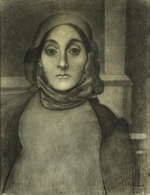 Painting by Arshile Gorky The Artist's Mother, 1926 or 1936 Charcoal on ivory laid paper 630 x 485 mm