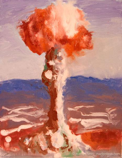 """Atomic Bomb Buster Jangle Charlie"" encaustic on masonite 10"" x 8"" © 2007 Marilyn Fenn"